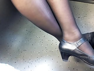asian legs in black pantyhose