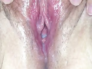 Pussy draining after load was left deep inside.