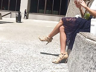 Young business girls great legs