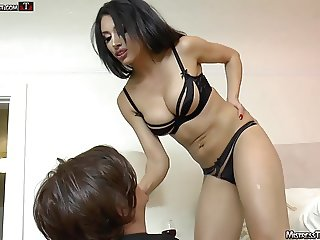 Foot licking fag gets femdom treatment from Mistress Tangent