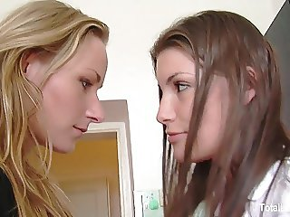 Gorgeous European babes pleasure one another