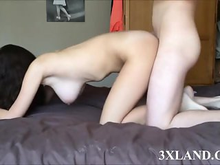 busty Teen chick rides dick hard