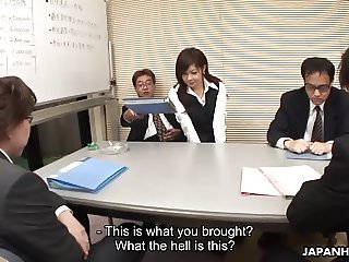 Lady Shino gets to suck off some cocks at the meeting