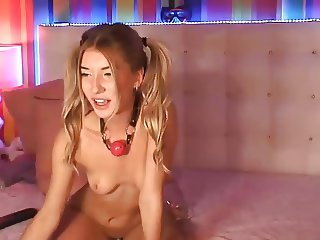 Hot teen riding dildo