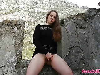 Hiking and Masturbating in Short Sweater Dress