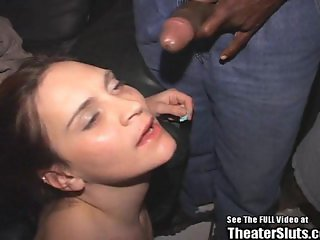Brunette Bitch Sucks and Fucks Gang Of Dicks