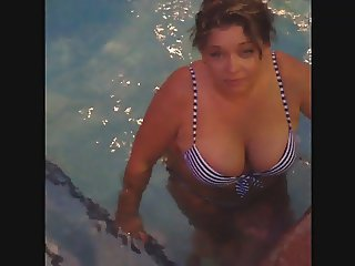 My mom's huge boobs in her little bikini