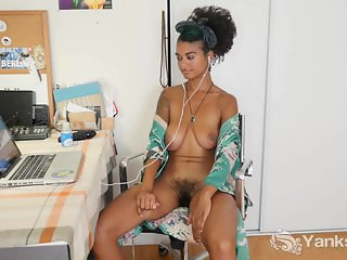 Busty Lola Toy Her Hairy Muff