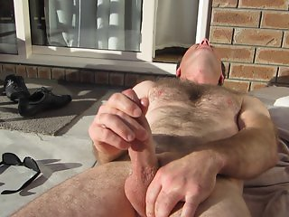 wife films husband masturbating outdoor cumshot