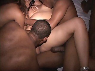 Young interracial MILFs bicker suck swallow
