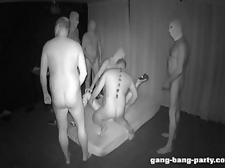 Darkroom GangBang Party with Farah Slut - part 1
