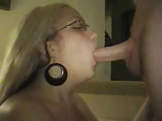 cute girl blowing and taking the cum with smile