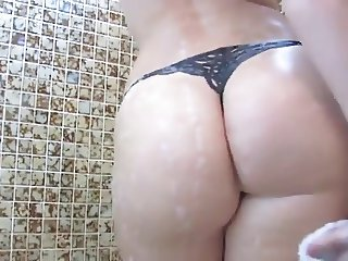 Teen PAWG with big boobs takes a shower
