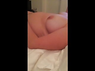 peeping on unaware wife as she plays with her tits
