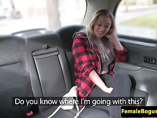 Bigtitted british cabbie pussylicking babe