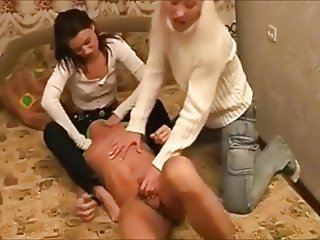 two women pegging siisy fucker