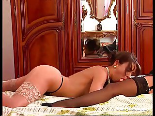 Maria Bellucci and Baby Face with a Double Sided Dildo