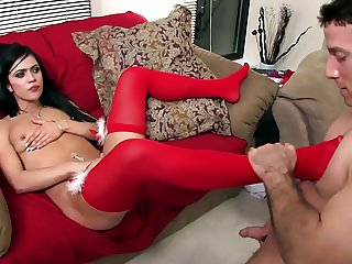 Mandy fucked on the couch in holiday lingerie