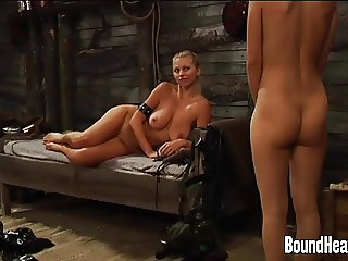 Young Maid Cleaning Busty Blonde Mistress