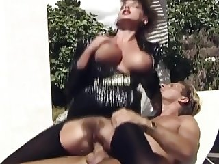 Sarah young in black pantyhose  fucked by three dudes