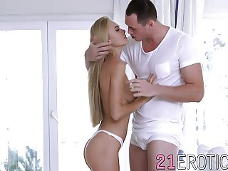 Smoking hot blonde babe Nancy pleases her man until he cum