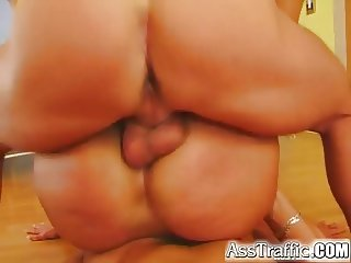 Ass Traffic Jany is gang banged in the caboose by three guys
