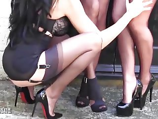 Smoking horny lesbian Milfs tease in fully fashioned nylons