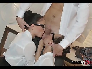 Two Office Whores Suck off their Boss
