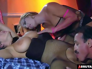 BrutalClips - She shares a cock and load while her husband w
