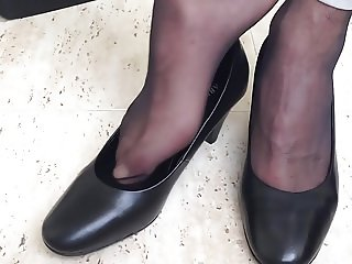 Playing with my nylon feervin heels