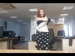 Show her great ass and boobs on office