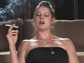 Smoking brunette - glass toy
