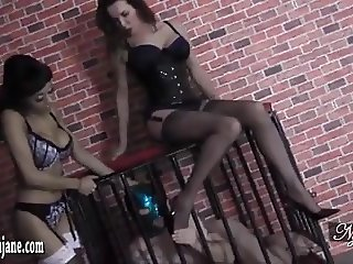 Caged sub makes sticky mess worshipping hot babes sexy nylon