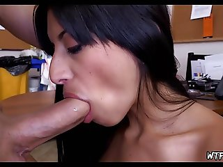 Maid gives blowjob in office