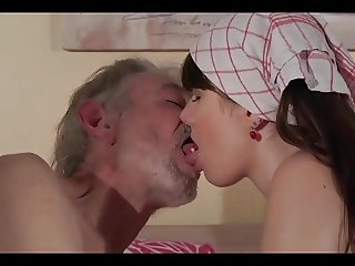 young maid shower old grandpa