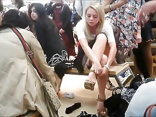 Candid Pretty Blonde Upskirt