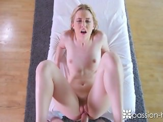 PASSION-HD Blonde pale Chloe Couture fucked and creampied on massage table
