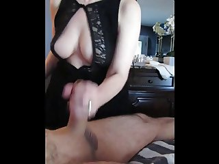 Trixie Braless does Handjob with Party Slut Dress