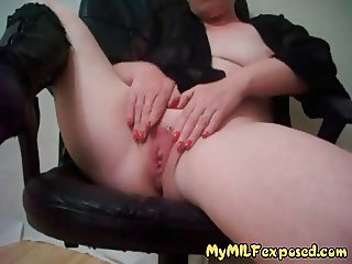 My MILF Exposed - shaved pussy wife with pierced clit hood