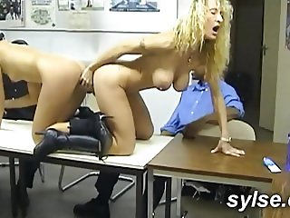 BBC orgy in office and shop betwwen several MILFs