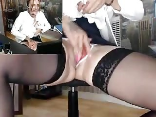 Hot chick masturbates at work  3