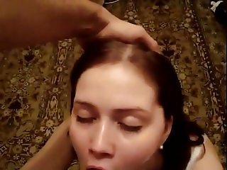 Submissive girl blowjob and swallow