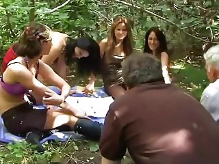 GIRLS TORTURE OLDER MEN OUTDOOR