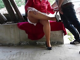 horny voyeur outdoor spray the nylon feet fuck