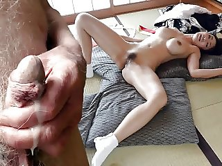 Japanese Mature Wank and Cum