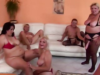 Awesome kinky group sex with matures and pissing