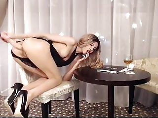 Thin Leggy Cutie Takes A Dildo Completely In Her Ass