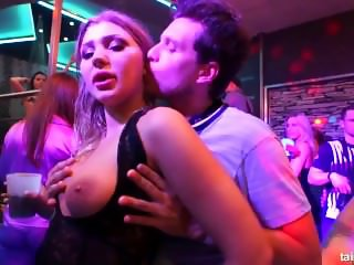 Sexy babes taking large cocks in public