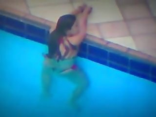 Teen girl caught masturbating in pool