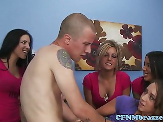 Les CFNM hazing babe punished with real cock
